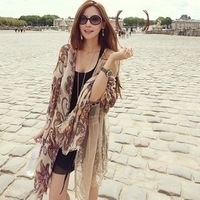 2013 Autumn vintage bohemia print cape scarf air conditioning cape long silk scarf