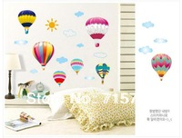 Free Shipping removable child wall sticker Kids Room hot air balloon Wall Stickers PVC interior wall paper home decor