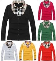 Free shipping New Design Brand Women Fashion Plaid Long Sleeve T-shirt high qulity Collar Casual shirts female clothes