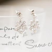 Richbon accessories snow crystal translucent elegant stud earring