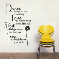 Dance Love Sing Live Quote Vinyl Decor Removable Wall Stickers Art Home Decals For  Free shipping