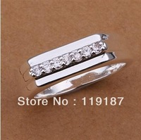 Free shipping wholesale new fashion jewelry, inlaid stone middle section of high-quality glossy Ring 925 Silver Ring R233-8