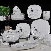 56 bone china dinnerware set kitchenware elegant silver