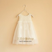 100 50 female child lace one-piece dress gentlewomen cotton yarn skirt child baby princess flower girl dress skirt