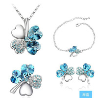 Refined and elegant fashion sweet sea blue crystal  Clover  brooch  Necklace   Bracelet Earrings Set S045