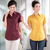 Casual shirt female short-sleeve cotton 100% middle-age women summer loose plus size 40 mother clothing top 2013