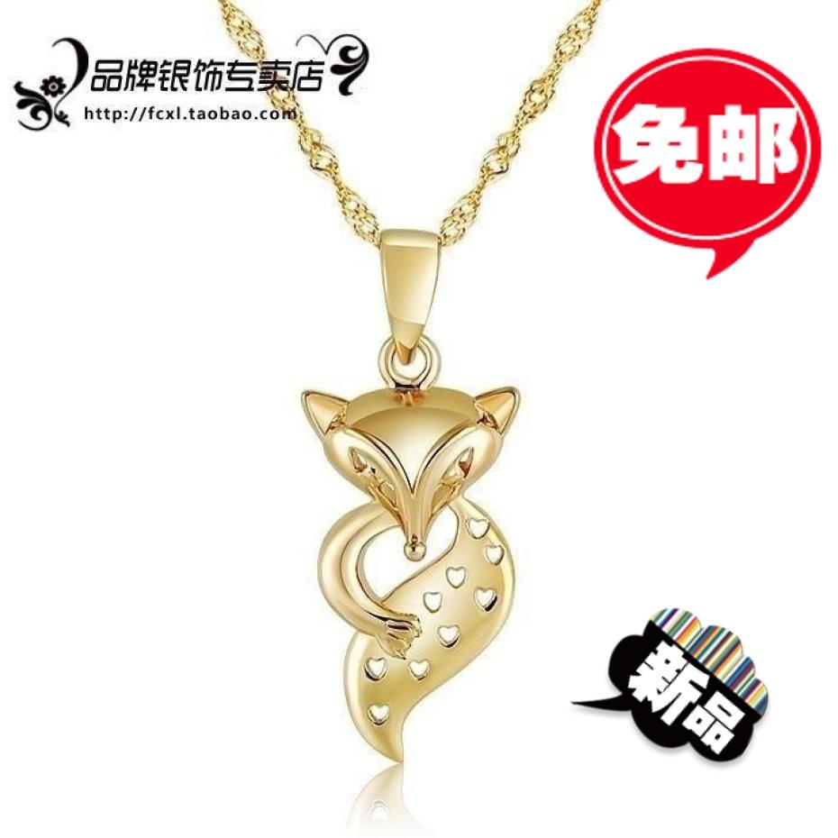 S925 WOLSEY pure silver necklace pendant color gold necklace silver necklace chain female(China (Mainland))