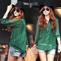 Summer new 2014 women's small chiffon long-sleeve shirt female shirt plus size chiffon shirt women blouse