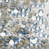 Free Shipping 1440pcs SS3 (1.3-1.4mm) Crystal Glue Fixed Flatback LT.Sapphire Rhinestone Nail Art Decoration Jewelry accessories