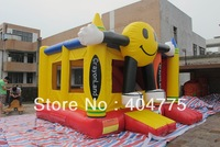 commercial grade inflatable smiling face slide combo with raincover on top+free carry bag+free CE/UL air blower+shipping