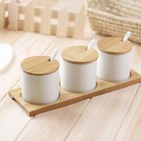 Miu color meters self-shade bamboo ceramic spice jar set kitchen cruet sauce pot box