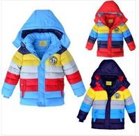 2013 New winter boy coat,striped color,boys cotton-padded jacket,Kids winter down coat,children outwear snow wear coat3pcs/lot