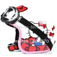 """E.38 3/4 Taiwan """" EVO """" Racing Cycling Casco Motorcycle """" Hello Kitty """" Bowknot White Helmet & UV Goggles & Visor Free Shipping"""