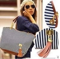 2013 new fashion Woman handbag fashion vintage fashion stripe plaid big bag tassel bag shoulder bag chain women's handbag200-17