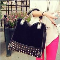 2014 rivet patchwork shoulder handbags women bags designers handbags high quality messenger bag leather bags200-1
