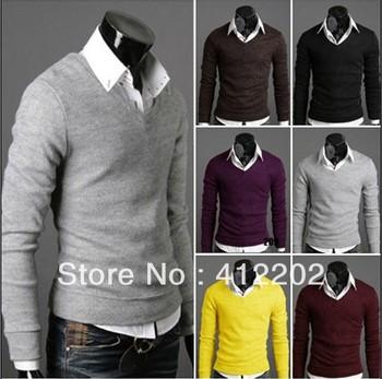 горячей продажи Мужская дна рубашки , Человек вязать свитер досуг колье , высокий воротник бэк рубашку , пальто Бесплатная доставка США размер: XS -L