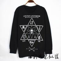 Fashion star 13 kill hexagonal star hexagram skull geometry loose long-sleeve sweatshirt ktz