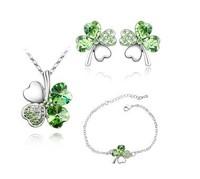 Necklace Bracelet Earrings Set S045 Korean Clover jewelry sets  popular fashion style sweet fresh fruit green Crystal necklace