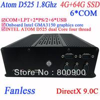 fanless embeded windows or linux micro pc DirectX 9.0C 6 COM Intel D525 1.8Ghz GMA3150 graphics nm10 LPT 6 USB 4G RAM 64G SSD