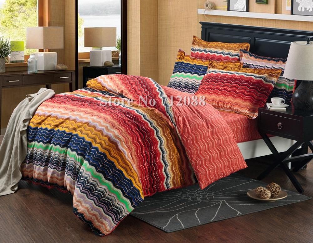 Wholesale bed linens queen king comforter 100 cotton 4pcs - Orange and blue comforter ...