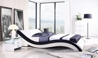 Leather Bed, 2013 New Modern Design, Top Grain Leather, King / Queen Size Soft Bed with Bedside cabinet, Best Leather Bed A044