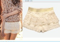 Free shipping Culottes new arrival 2013 summer women's lace decoration cutout exquisite crochet all-match shorts