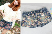 Free shipping Submissively clothing 2011 summer rose water hole wash ultra-short denim skirt pants shorts