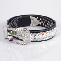 Free shipping 2013 Women's fashion style PU leather rhinestone belts with high quality JS-9087