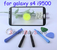 100% original Outer LCD Screen Lens Top Glass for Samsung Galaxy S4 i9500 with Opening tools,black and white Free shipping