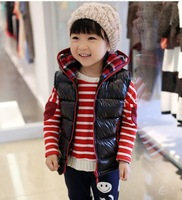2013 boys and girls thick hooded light leather vest cotton vest can pick yards 1195574300 1pcs