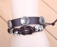 Korean Fashion Cow Leather Bracelet Small Spanner Rivet Knotted Leather Bracelet For Women Free Shipping HeHuanSLQ034