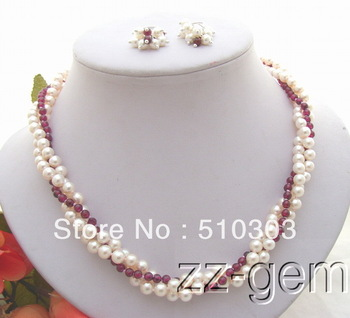 White Pearl&Natural Garnet Necklace&Earring Set
