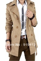 New 2013 Spring Autumn Fashion Men Overcoat Korean Male Long Wind Coat Double-breasted Plus Size Black Khaki Free Shipping Z246