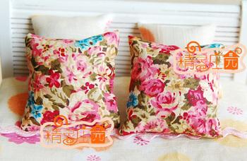 Dollhouse doll house mini furniture fabric oil painting flower cushion a pair of