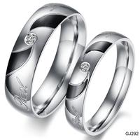 oem available 2014 products jewelry black rhinestone titanium ring lovers ring anillo gift set midi ring gj292