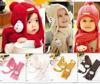 1set 2 pcs Hot Sale 2013 Autumn Winter  children kid's hat scarf set cute lovely Bear Earflap Caps Boys Girls Free Shipping