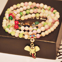 Freeshipping.Fashion 2013 New Natural Agate Crystal Thai Mulets Elephants Multilayer Bracelet.