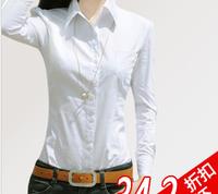 Spring  autumn casual ol white dress shirt slim long-sleeve basic Blouses  cotton lady business long sleeve women BEST QUALITY