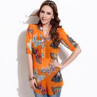 Free shipping Honey mm plus size clothing 8586 elegant design print long chiffon shirt - tube top - twinset