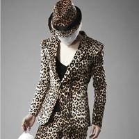 free shipping men leopard print blazer super cool new arrive