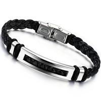 2014 jenuine PU leather bracelet men gift titanium leather wrap bracelet ph766  wholesale