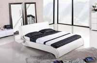 King Size Bed, Luxury Modern Design Furniture, Top Grain Leather cover, King / Queen Size Soft Bed with Coffee Table Bed CK002
