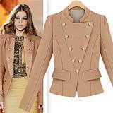 Spring fashion star style shoulder pads woolen double breasted stand collar handsome short jacket women
