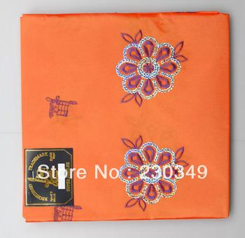 Free shippig African  headtie,Embroidery Sequins Headtie,Head Gear,,Head Tie & Wrapper, 1piece/bag,ORANGE