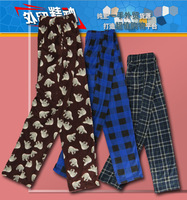 2013 Free Shipping New Arrival High quality Men fleece plaid pattern fleece pants at home pajama pants dh4-p386