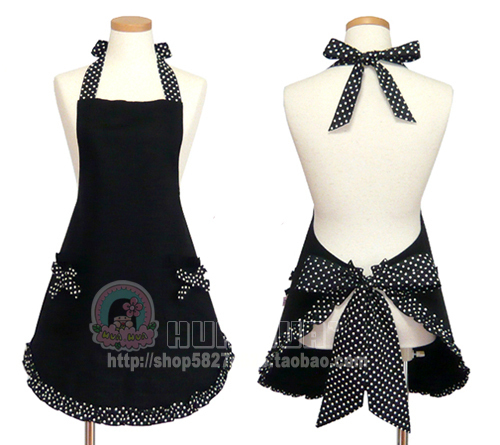 Custom 10-25days!free size in stock Princess gothic lolita Aprons black dress polka dot maid outfit ruffle bow need Height waist(China (Mainland))
