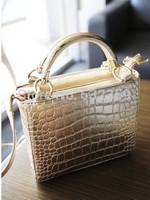 NB033 - Fashion Japanned Leather Crocodile Pattern Handbag Shoulder Bag Messenger Bag Women's Handbag