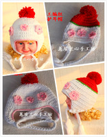 Baby yarn ear protector cap handmade knitted child hat thermal princess flower hat