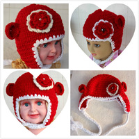 New arrival handmade yarn handmade knitted hat baby autumn and winter ear hat baby flower beanie