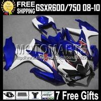 7gifts For SUZUKI K8 HOT  08 09 10 Factory blue R750 C#4A8 GSXR750 GSXR600 GSXR 600 750 2008 2009 COOL Blue white 2010 Fairing